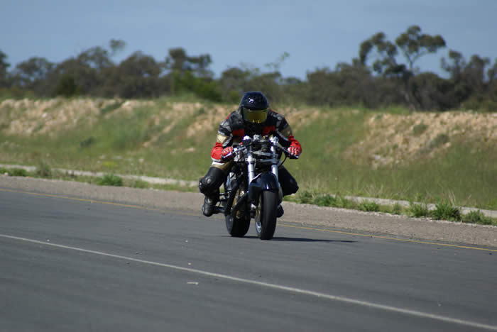 Stuart Penn exercises his Vincent at the recent Tailem Bend Ride Day. Photo – Nick Clarke